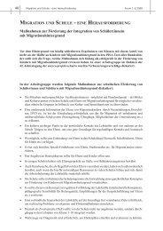 MIGRATION UND SCHULE - EINE HERAUSFORDERUNG Maßnahmen zur ...