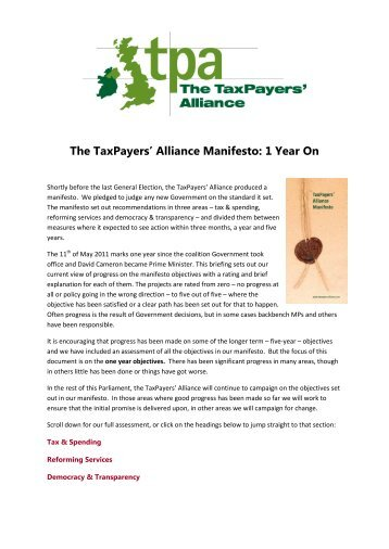 to see the scores and read the full report - The TaxPayers' Alliance