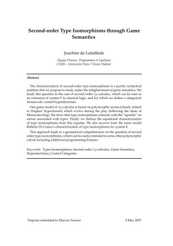 Second-order Type Isomorphisms through Game Semantics - PPS