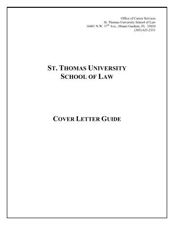 Cover Letter Guide   St. Thomas University  Cover Letter Guide