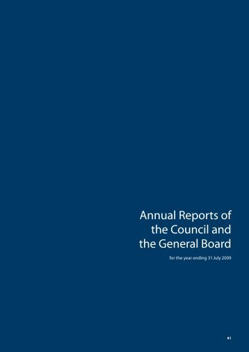 Annual Reports of the Council and the General Board