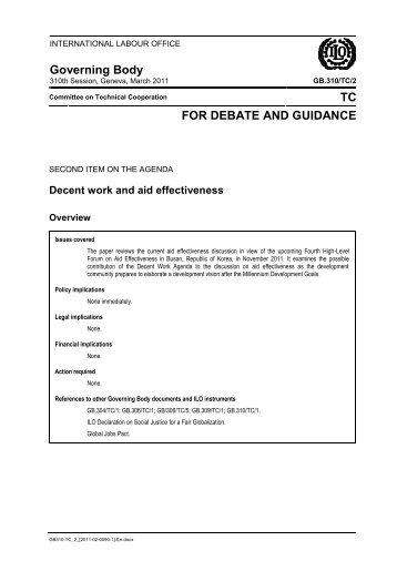 Decent work and aid effectiveness - International Labour Organization