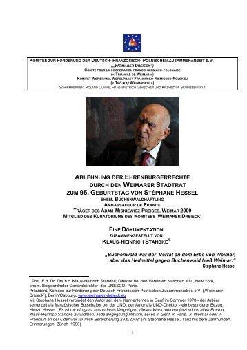 Stéphane Hessel. 95.Geburtstag. Ablehnung der beantragten ...