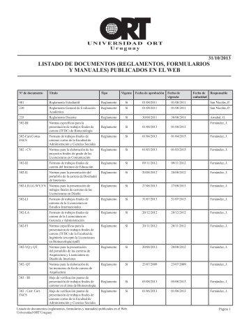 listado de documentos (reglamentos y formularios) publicados en el ...