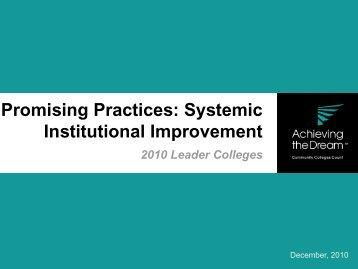 Systemic Institutional Improvement