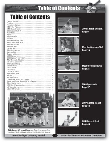 Table of Contents - Central Michigan University Athletics