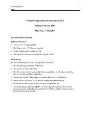 Musterlösung Klausur Kommunikation I Sommersemester ... - IWR