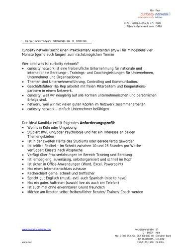 curiosity network sucht einen Praktikanten/ Assistenten (m/w) für ...