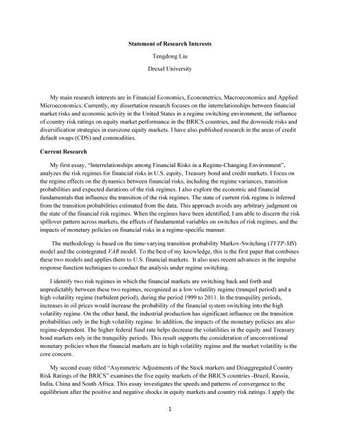 1 Statement of Research Interests Tengdong Liu Drexel University