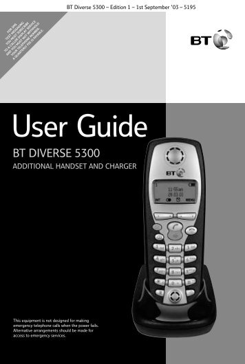 BT Diverse 5300 User Guide.pdf 732KB 02 - Telephone Systems