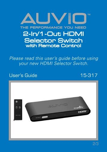 AUVIO 2-In/1-Out HDMI Selector Switch with Remote ... - Radio Shack