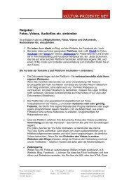 Ratgeber – Audiofiles, Videos, Fotos einbinden - Kultur-Projekte