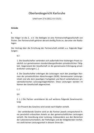 OLG Karlsruhe, Urt. v. 27.6.2012, 6 U 15/11 - omsels.info – Der ...
