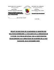 PROJET DE DISCOURS DE S.E.MONSIEUR LE MINISTRE ... - ROP