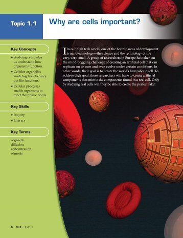 Topic 1.1 Why are cells important? (3720.0K) - McGraw-Hill Ryerson