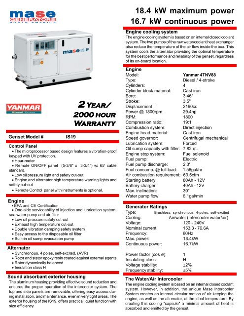 Specifications/Product Brochure - Mase Generators of North