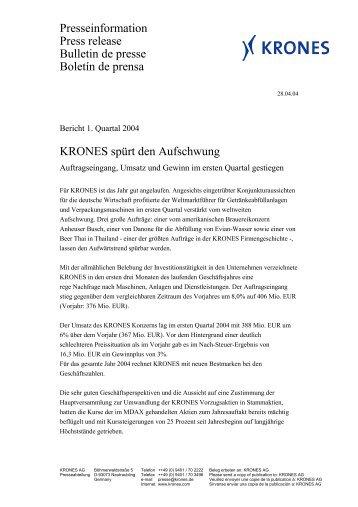 Bericht 1. Quartal 2004 - Krones AG