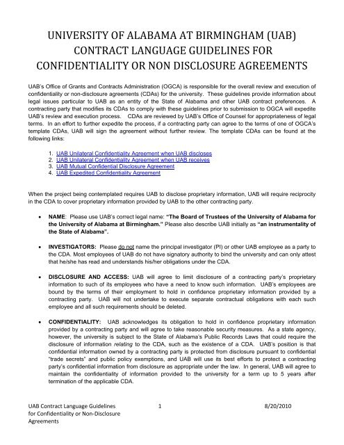 Uab contract language guidelines for confidentiality or non