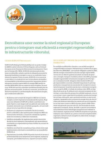 Dezvoltarea unor norme la nivel regional şi European ... - SUSPLAN