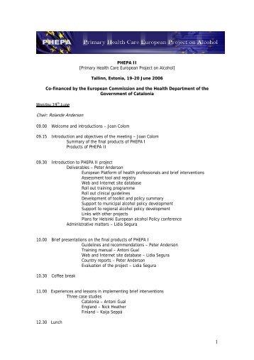 Agenda meeting Tallinn, Estonia - PHEPA