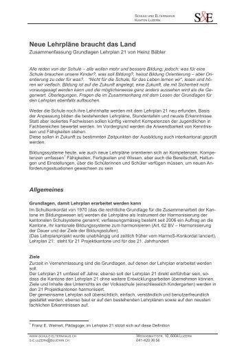 Grundlagen Lehrplan 21 - Schule und Elternhaus Schweiz