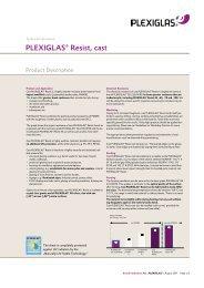 Product description PLEXIGLAS ® Resist, cast