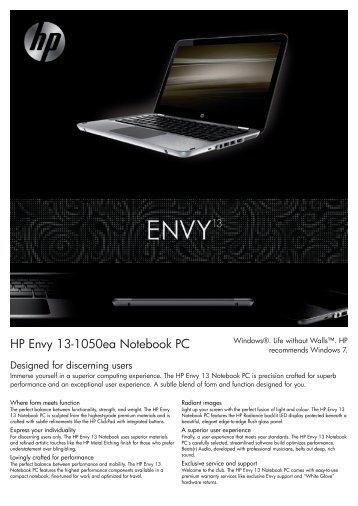 PSG Consumer 3C09 HP Notebook Envy Datasheet - Box.co.uk