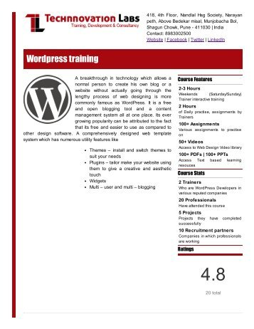 WordPress training details