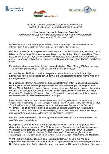 "Ehingeni Könyvtár ""Magyar irodalom német nyelven"" e.V. präsentiert ..."
