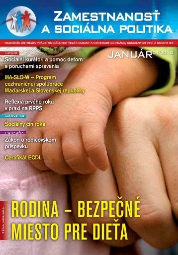 JANUÁR01/2010 - Ústredie práce, sociálnych vecí a rodiny