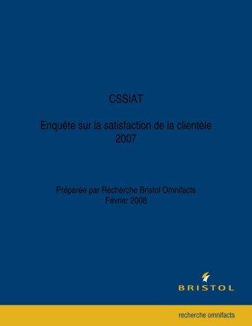 CSSIAT Enquête sur la satisfaction de la clientèle 2007 - WorkSafeNB
