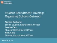 Organising Schools Outreach - University of Leicester