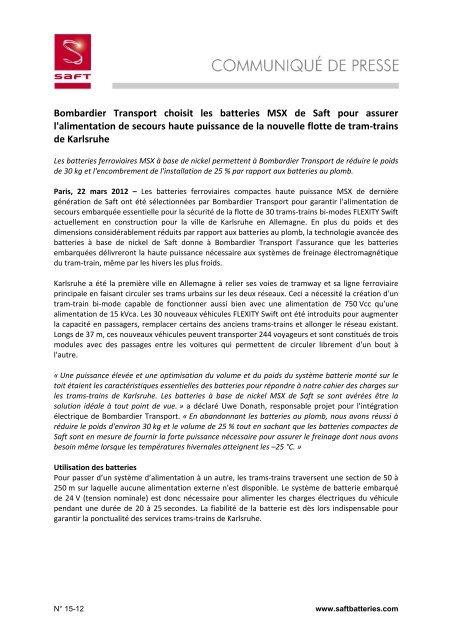 Bombardier Transport choisit les batteries MSX de Saft pour assurer ...