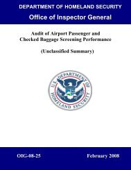 Audit of Airport Passenger and Checked Baggage Screening ...