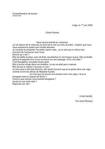 Compréhension de lecture La lettre - Professeur Phifix