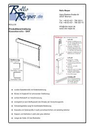Produktbeschreibung Kassettenrollo - SKR - Rollo Rieper