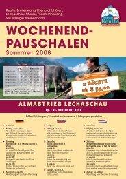 WOCHENEND- PAUSCHALEN - Reutte.com