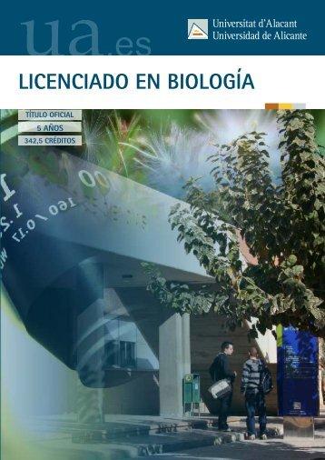 LICENCIADO EN BIOLOGÍA - Universidad de Alicante