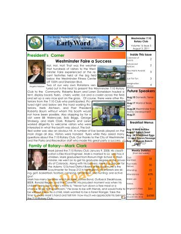 Newsletter -- August 3, 2011 - Westminster 7:10 Rotary