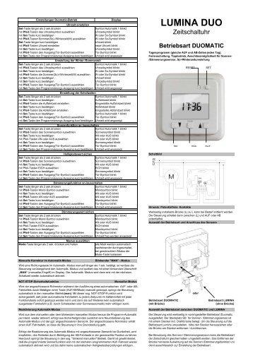 Betriebsanleitung Schaltuhr Lumina Duomatic