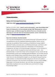 Presse-Info 2011-10-05: Swiss Life Vorsorge-Know-how