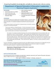 Department of Special Education Teaching Program Application