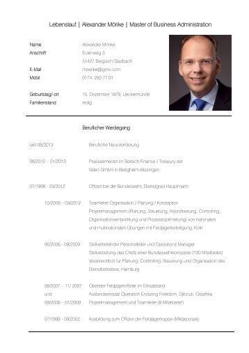 lebenslauf alexander mrike master of business administration - Alexander Bommes Lebenslauf