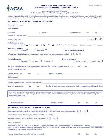 formulario de reembolso de gastos seguro médico hospitalario