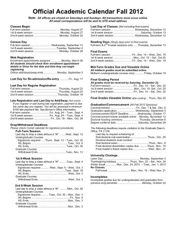 Official Academic Calendar Fall 2012 - The University of Texas at ...