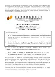 Change Of Company Secretary, Qualified Accountant ... - HKExnews