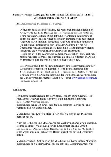 Schlusswort Caritasverband Freiburg