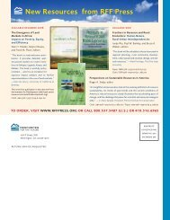 New Resources from RFF Press - Resources for the Future