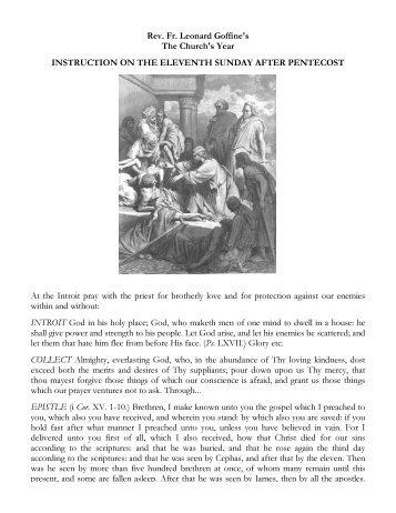 Eleventh Sunday after Pentecost - SanctaMissa.org