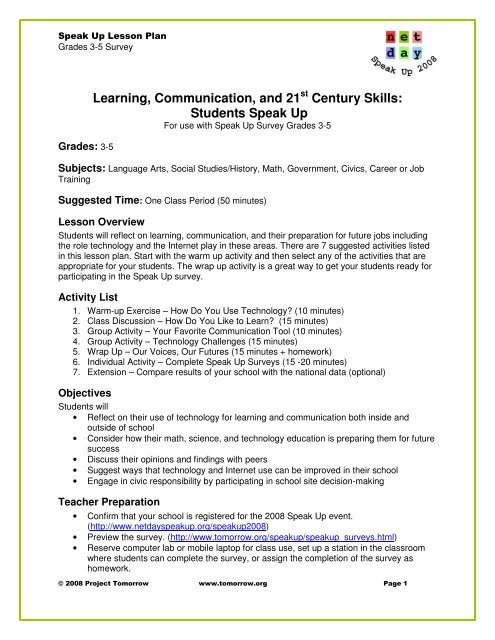 Learning, Communication, and 21 Century Skills     - Project